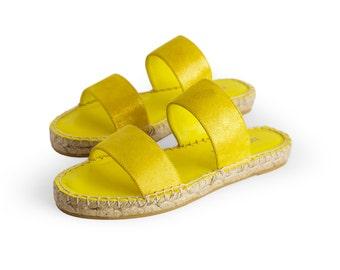 ALZIRA LIME - Espadrille, Sandal, jute, leather, yellow, glitter, spring, summer, NOGUERON