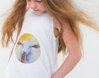 TODDLER girl linen dress with sheep, comfortable dress, breathing eco material dress, white beach vacations dress, handmade, Art vivid