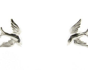 Sterling Silver Swallow Stud Earrings