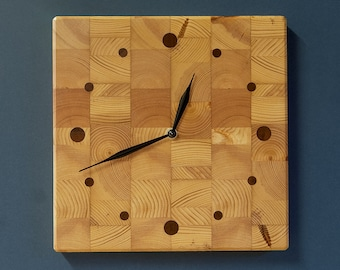 """10"""" Butcher Block Kitchen Clock - Square Wall Clock - Recycled Pine"""