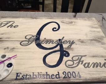 Hand painted wooden sign with name and dayws of choice. Color and size vary