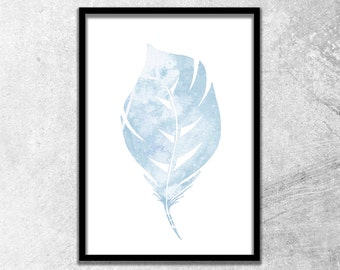 Watercolor Feather in Blue / Wall Art Print / Instant Digital Download