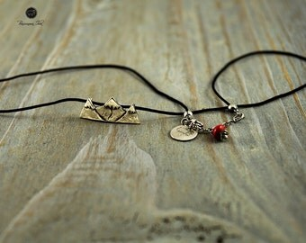 Silver necklace-  Mountain peaks on the black string.Mountains.Mountain jewelry.Travel.
