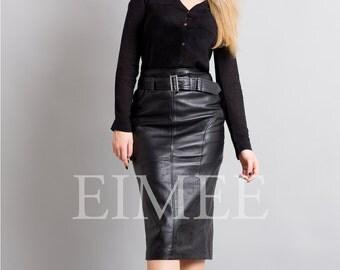 Knee Length Leather Tight Pencil Long Skirt High Waisted RAHET