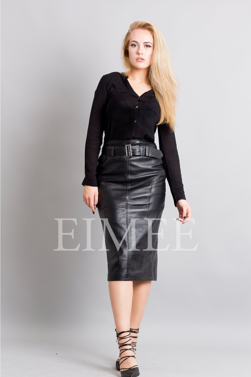 Knee Length Leather Tight Pencil Long Skirt High Waisted Rahet