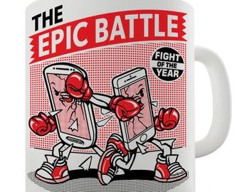 Epic Battle Of The Smart Phones Ceramic Tea Mug
