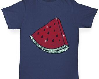 Boy's Watermelon Slice Rhinestone Diamante T-Shirt