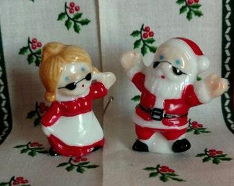 Vintage bone china miniature Santa and Mrs Santa figurine