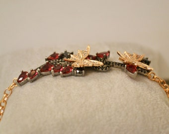 amazing bracelet in silver with pink and white Swarovski blacks and red rubies