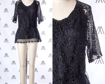1970s Black Crochet Tunic with Drawstring Waist SIZE: S, 4