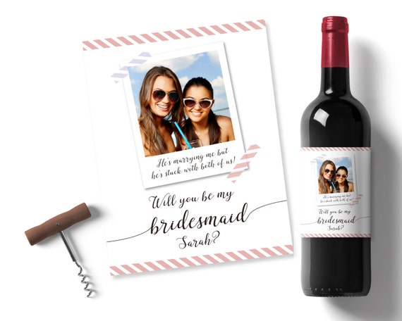 personalised will you be my bridesmaid printable wine label