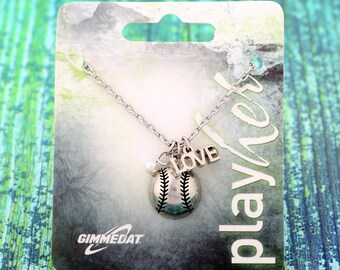 Customized Baseball Necklace with Love Charm - Personalize with Jersey Number, Heart Charm, or Letter Charm! Great Baseball Mom Gift!