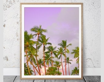 Palm Trees Print, Tropical Print, Wall Art, Palm Print, Wall Decor, Coastal Art, Poster, Palm Photography, Instant Download, Pink Red Green