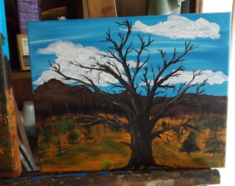"8"" x 10"" Acrylic on Canvas The Old Dead Oak Painting"