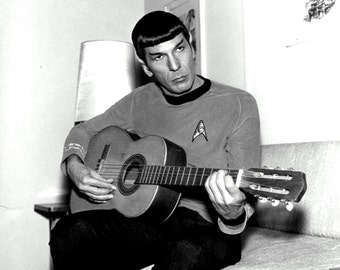 "Leonard Nimoy as ""Mr. Spock"" Playing a Guitar - 5X7, 8X10 or 11X14 Publicity Photo (ZZ-578)"