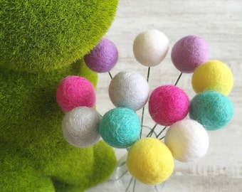 Billy Button Felt Ball Flowers - Popping Candy