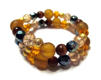 Fall themed Memory Wire Bracelet In Shades of Green Gold Brown Orange