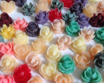 RUFFLED ROSE , Flower Cabochon,10 mm,Flat Back, Resin,RoseCab,Mixed oliurs,PastelRose,Earrings,Flower Cabochon,Bulk, 50 pieces