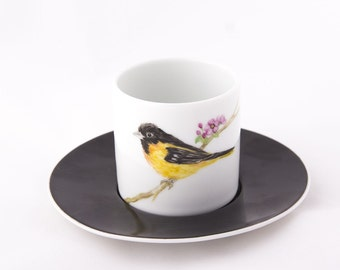 Hand Painted , Porcelain Coffee Cup with Black Bird Pattern