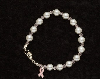White Pearl Breast Cancer Awareness Bracelet, Breast Cancer Charm, Awareness Bracelet
