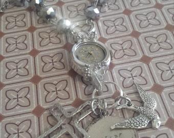 repurposed vintage watch necklace