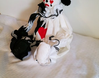 Classic Harlequin Clown, Black & White, Collectible