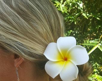 Medium and Large Sized Plumeria Foam Flower Hair Clips