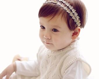 Blossom Diamonte Baby Girls Gold Headband. Floral Baby Girls Headband. Pearl Crystal Diamonte Headband. Baby Headband. Girls Floral Headband
