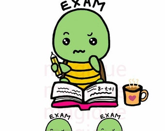 exam for dino turtle stickers, exam stickers, exam clipart, kawaii clipart, planner stickers, kawaii stickers, digital prints.-