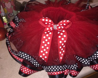 Red Minnie ribbon tutu
