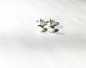 Opal Studs Set In Sterling Silver