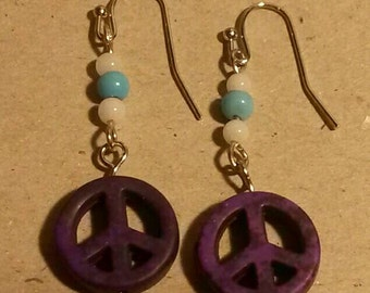 Purple peace sign homemade dangle earrings