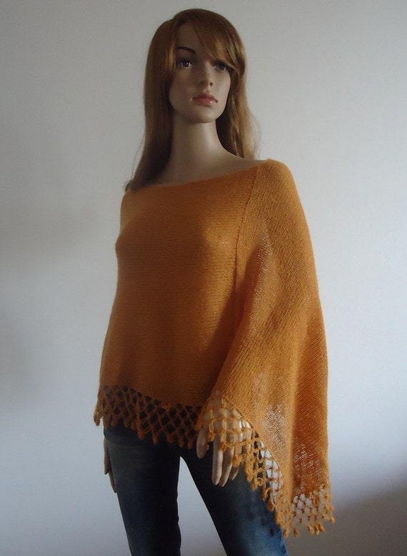 Amber cover up poncho Caramel cape mustard yellow wrap Handmade Women Poncho Mohair yarn Ready to Ship