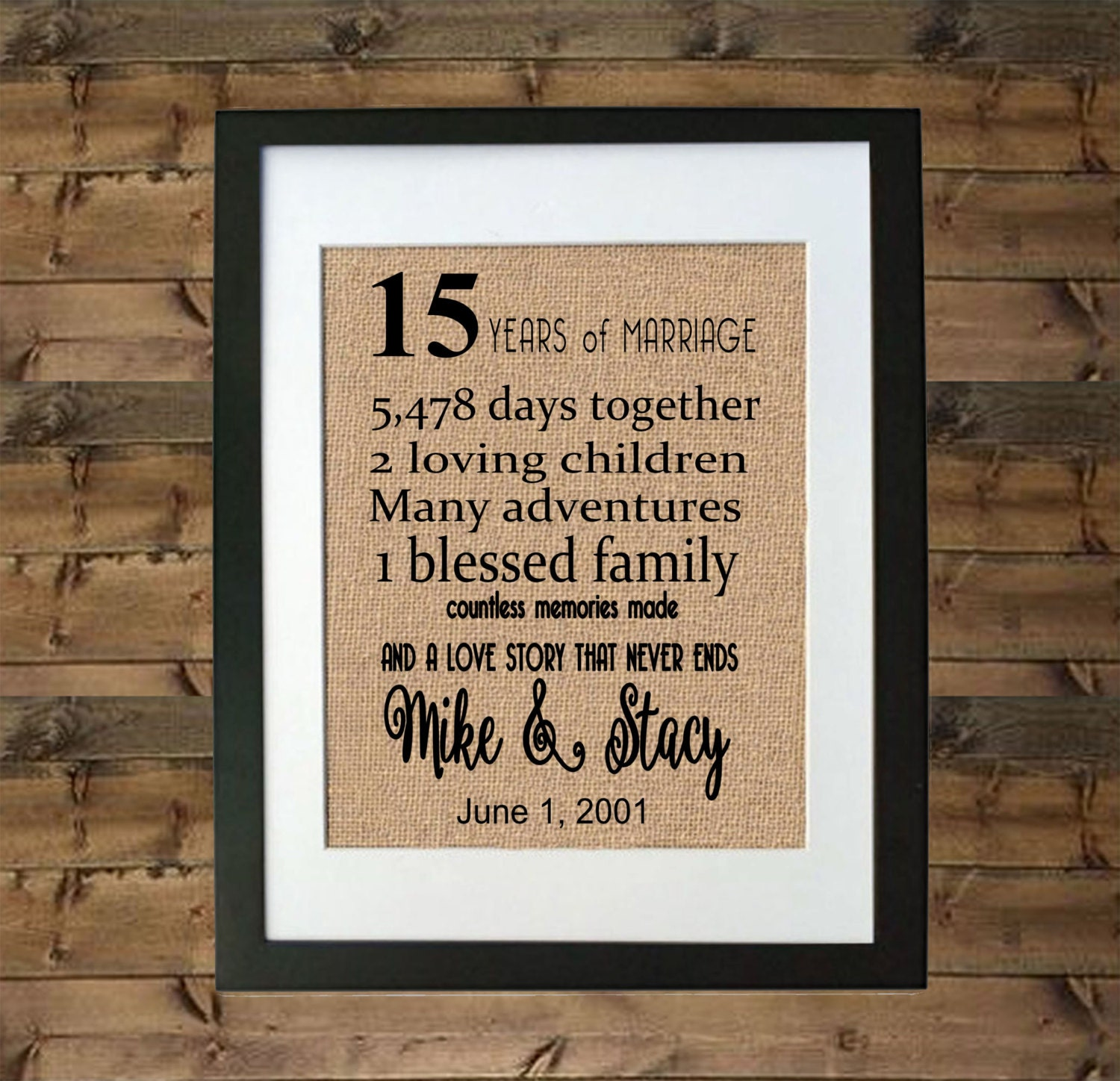 15 Wedding Anniversary Gifts: 15 Year Anniversary Gift Framed Burlap Print Personalized
