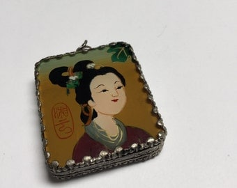 Hand Painted and Set Double Sided Pendant (Style 7) - 1 Piece - #421