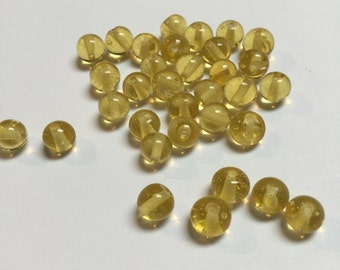Vintage Japanese Glass Rounds in Yellow - 33 Pieces - #705