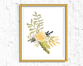 Instant Download Printable Floral Print   Boho Wall Art, Vintage Rustic Art, Tribal Woodland Watercolor Home Decor Nursery Dorm Shabby Chic