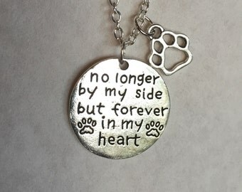 No longer by my side but forever in my heart necklace, dog necklace, Pet grievance necklace, lost a pet, lost a dog