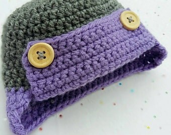Newborn Aviation Style Crochet Hat with Ear Flaps, Baby Hat, Infant Hat, Toddler Hat, Photo Prop Hat, Baby Accessory