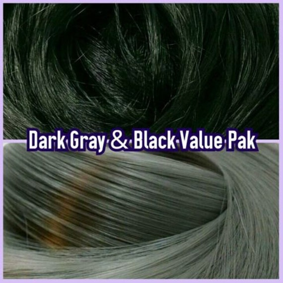 Black & Smoke Grey XL 4oz 2 Color Value Pak Nylon Doll Hair Hanks Rerooting Monster High Ever After, Barbie, Fashion Royalty, My Little Pony