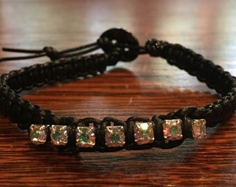 Black Rhinestone Leather Bracelet