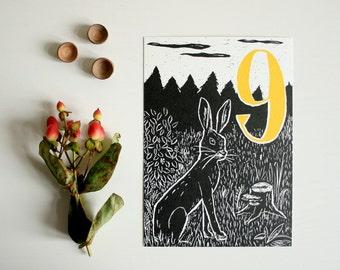 Happy Birthday postcard hare, children, forest animal illustration, scratchboard, ninth birthday, black, nine, greeting card