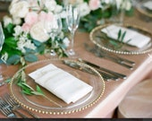 """13"""" GLASS CHARGER PLATES with Gold Beaded Rim"""