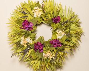 Palm Hydrangea Wreath