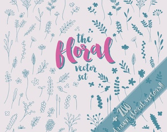 Floral Vectors, vector flowers, vector leaves,  Illustrator vectors, plant vectors, flowers and leaves, hand drawn