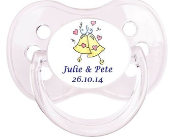PERSONALISED  Dummy Pacifier Soother, All Teats, Sizes & Colours, WEDDING