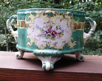 Victorian Cachepot with Delicate Flowers