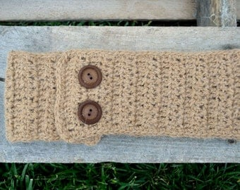100% alpaca ear warmer with buttons, headband, hand made, crochet