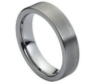 FLASH SALE 40% OFF * Mens Grey Flat Brushed Tungsten Carbide Ring, Comfort Fit Band - 6 mm