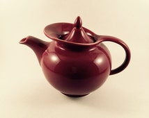 Vintage 1940's Hall Windshield Maroon Teapot